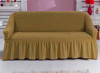 Чехол натяжной на диван MILANO темно-горчичный