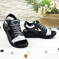 Босоножки спортивные кожаные на шнурках, цвет черно-белые