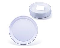 Тарелка пластиковая, одноразовая, белая, d-205 мм, белая, 100шт/уп