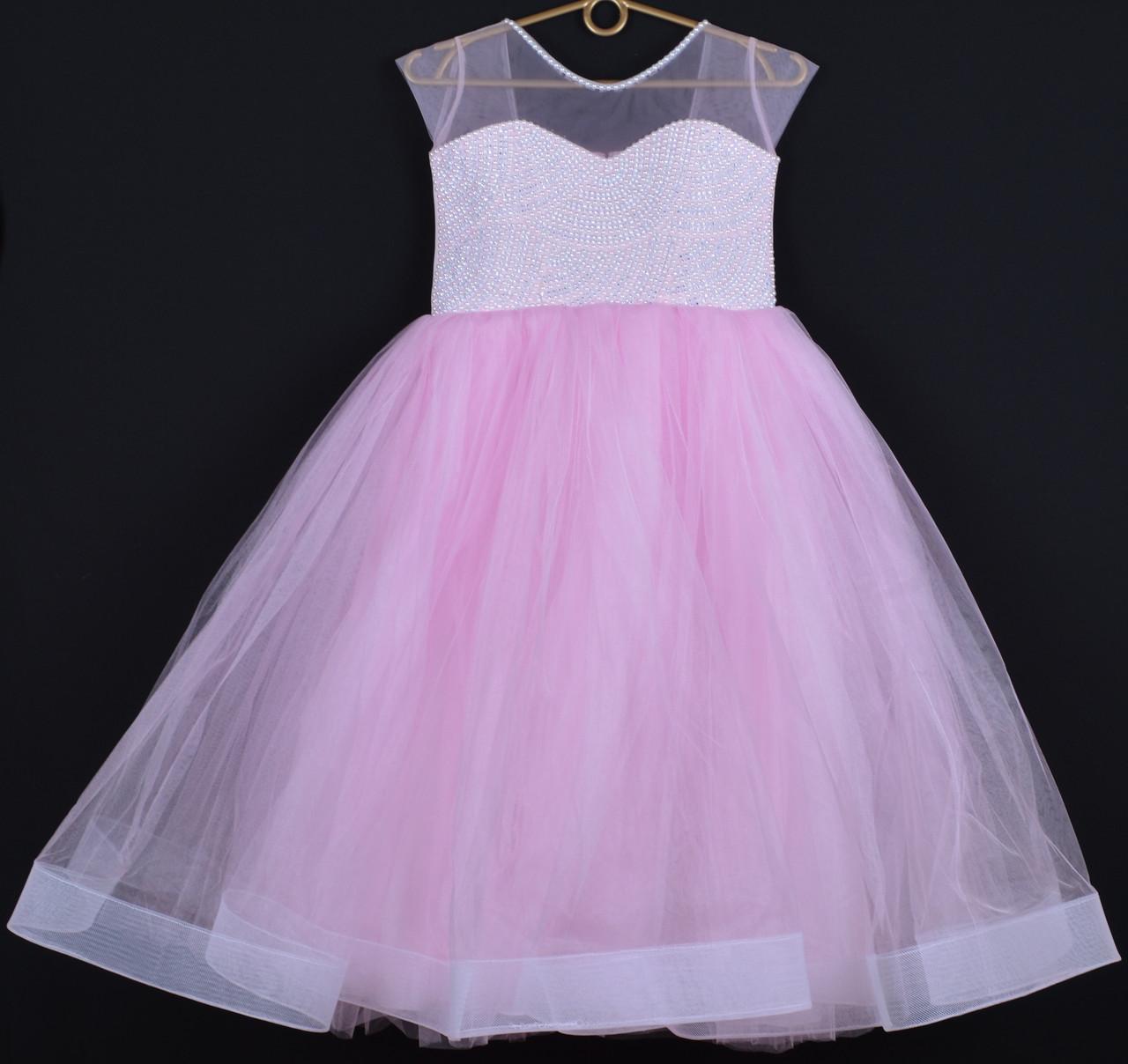 """Платье нарядное детское """"Лоретта"""" 7-8 лет. Розовое. Оптом и в розницу"""