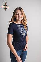 Жіноча вишита футболка Лоза жовто-блакитна
