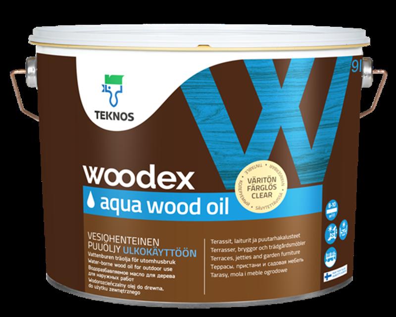 Масло влагозащитное TEKNOS WOODEX AQUA WOOD OIL  для древесины 9л