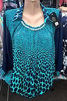 Нарядная женская блуза в красивый принт и шифоновым рукавом
