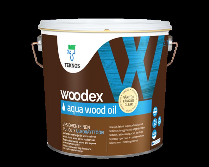 Масло влагозащитное TEKNOS WOODEX AQUA WOOD OIL  для древесины 2,7л