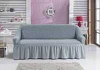 Чехол натяжной на 3-х местный диван MILANO серый ( Турция)
