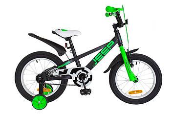"""Детский велосипед с дополнительными колесами Formula JEEP 14G 16""""  Черный с зеленым (OPS-FRK-16-055)"""