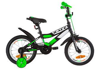 """Детский велосипед для мальчика Formula RACE 14"""" с крылом Pl Черно зеленый (OPS-FRK-14-003)"""