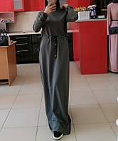 Платье макси с капюшоном в спортивном стиле