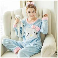 Шикарная нежная, плюшевая женская пижамка (повязка в комплекте) 42 размер
