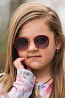 Стильные солнцезащитные очки для девочек в металлической оправе с поликарбонатными линзами красные