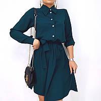 Женское платье-рубашка изумрудного цвета, код G-126