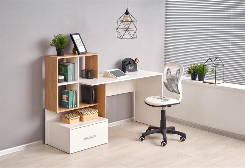 Стол письменный GROSSO белый/дуб золотистый (Halmar)
