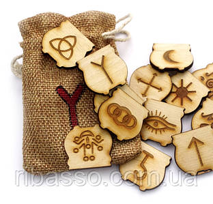 """9160248 Набор деревянных рун для гадания с аннотацией """"Ведьмины руны"""""""
