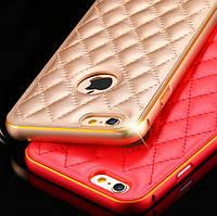 Металлический бампер для iPhone 6 с кожаной панелью, фото 1