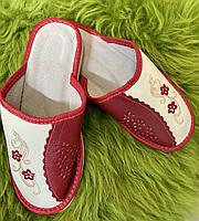 Домашние кожаные тапочки женские, 39 размер