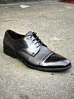 Туфли дерби мужские кожаные классические Икос черные 44