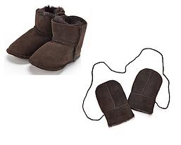 Комплект: варежки и угги пинетки из натурального меха, ECL (Англия)