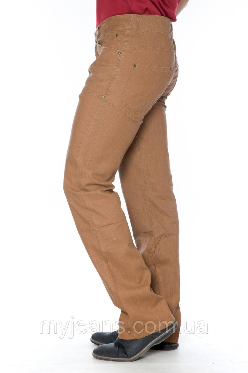 Мужские джинсы Franco Benussi E PNT 318 из льна коричневые