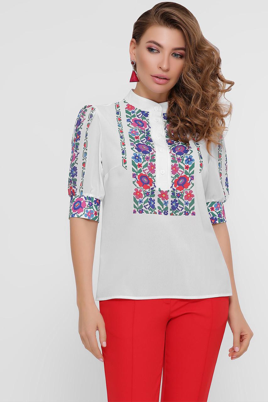 Цветы вышивка блуза Лисанна к/р