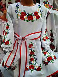 Детское платье с вышивкой гладью размеры 116-134