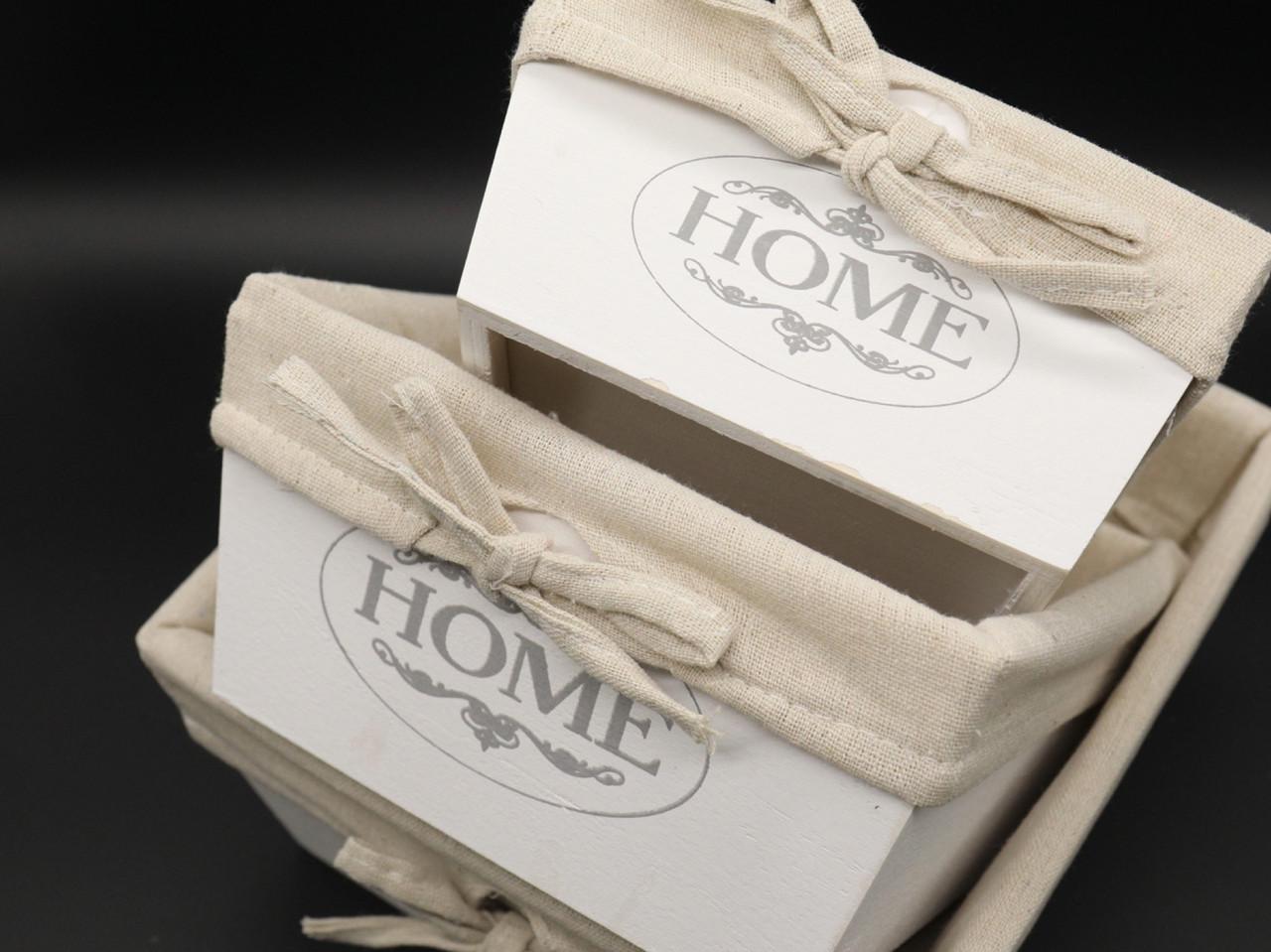 Деревянные ящики с тканью. Цвет белый. 22х22х11см