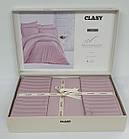 Постельное белье CLASY страйп-сатин 200x220 см Lila, фото 2