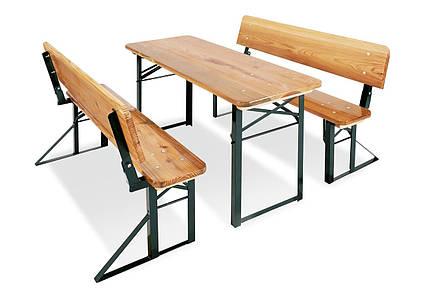 Складной стол с лавочками Pinolino со спинкой, из дерева и металла