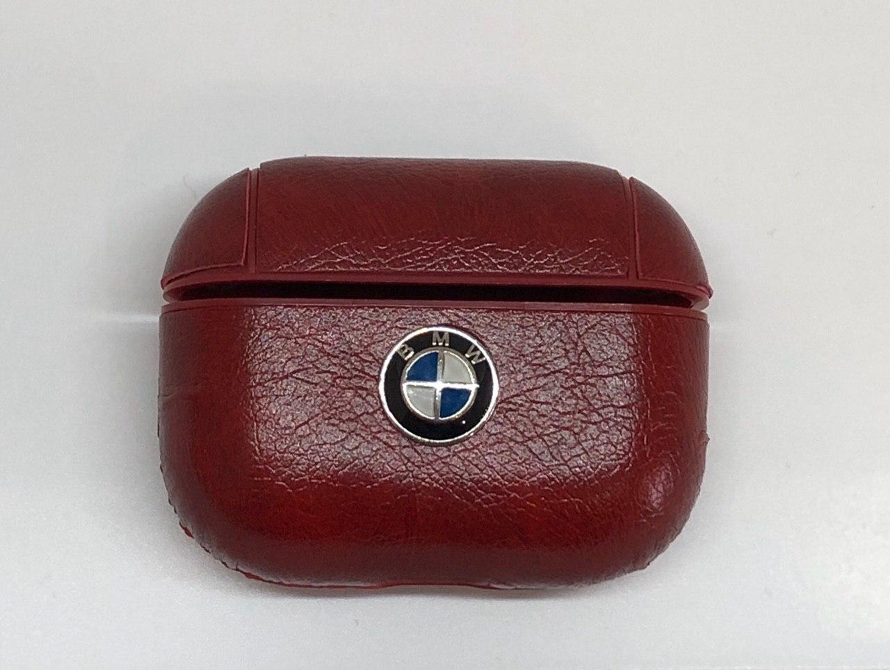 Чехол BMW AirPods Pro - кожаный, бордовый, с карабином