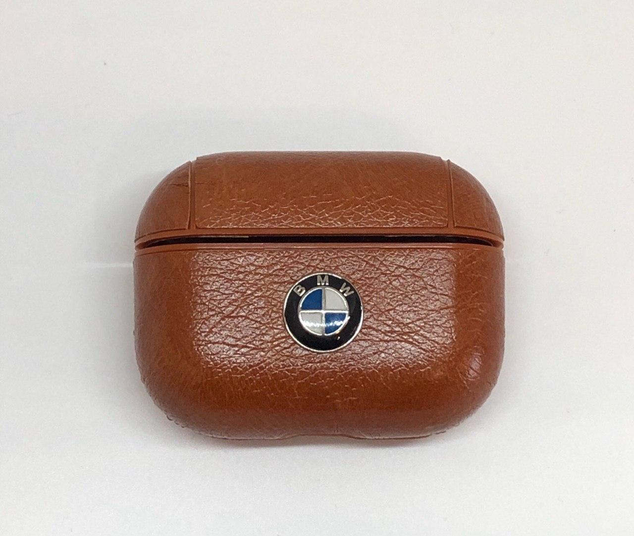 Чехол BMW AirPods Pro - кожаный, светло-коричневый, с карабином