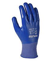 Перчатки трикотажные маслобензостойкие с нитриловым покрытием Doloni D-Oil синие 4581