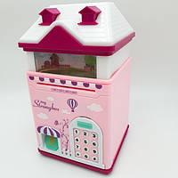 Детский сейф копилка с отпечатком пальца, кодовым замком  и купюроприемником для бумажных денег и монет  Домик розовый (детский сейф копилка)