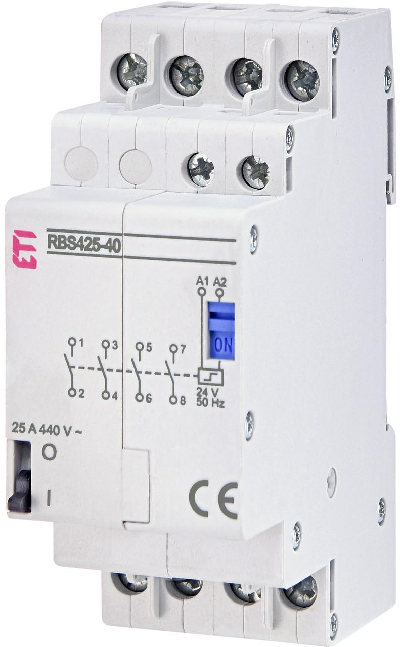 Контактор импульсный ETI RBS 425-40 25А 24V AC 4NO 2464143 (бистабильное реле, на din-рейку)