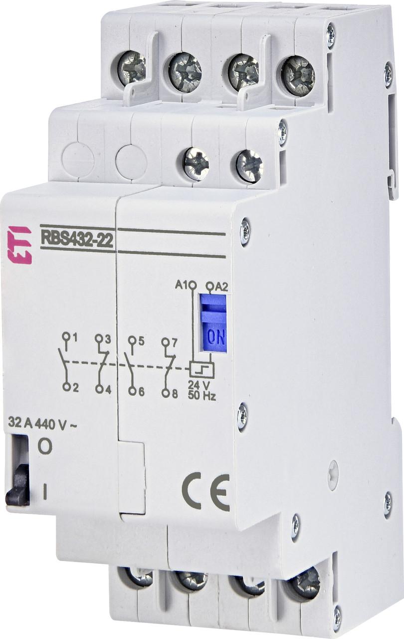 Контактор импульсный ETI RBS 432-22 32А 24V AC 2NO+2NC 2464156 (бистабильное реле, на din-рейку)
