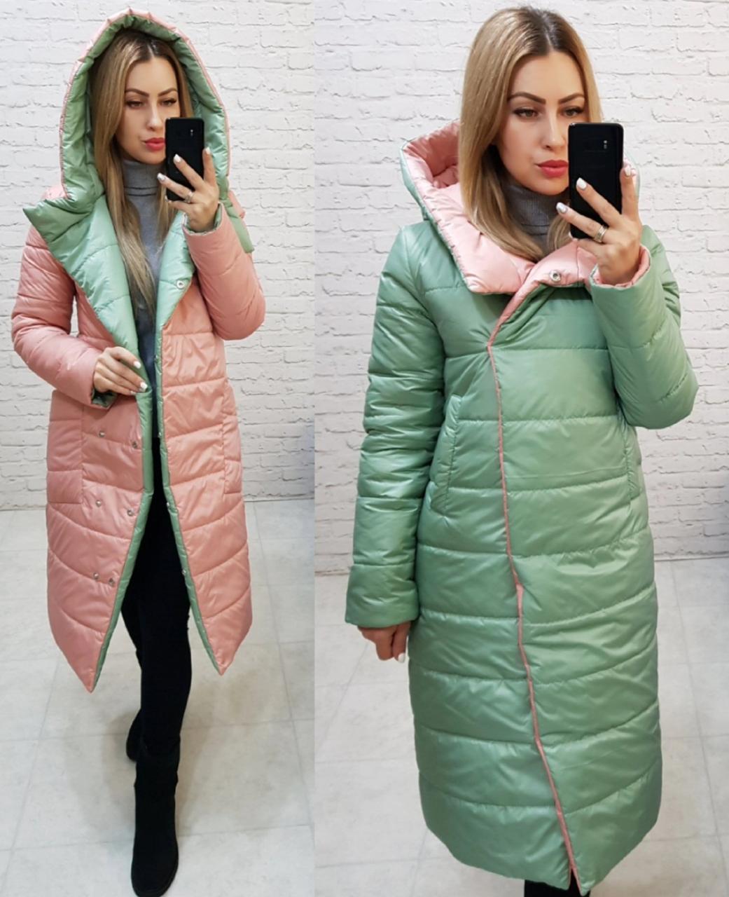 Куртка на две стороны с капюшоном арт. 1007 шалфей и персик / нежно зеленая с персиковым