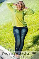 Женская блуза большого размера оливка, фото 1
