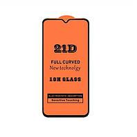 Защитное стекло 21D Full Glue для Samsung Galaxy A10s (A107) черное 0,3 мм в упаковке