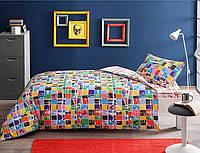 Комплект постельного белья подростковый TAC Graffiti Square с простыню на резинке в подарочной коробке
