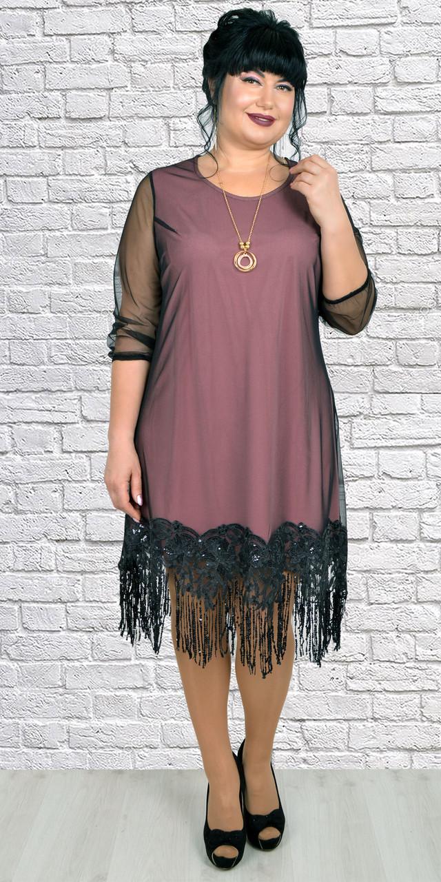 Красивое и торжественное платье з сеткой и бахромой 52-58