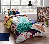 Комплект постельного белья подростковый TAC Graffiti Easy с простыню на резинке в подарочной коробке