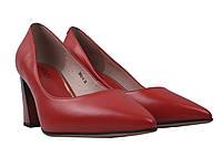 Туфли женские на каблуке Geronea натуральная кожа, цвет красный.