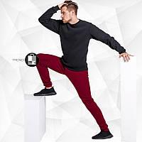Качественный утепленный мужской спортивный костюм - черный свитшот+бордовые штаны