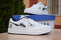 Мужские кроссовки в стиле Fila Turismo низкие белые с синим