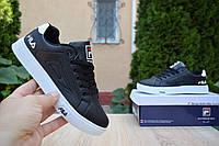 Женские кроссовки в стиле Fila кеды черные на белой
