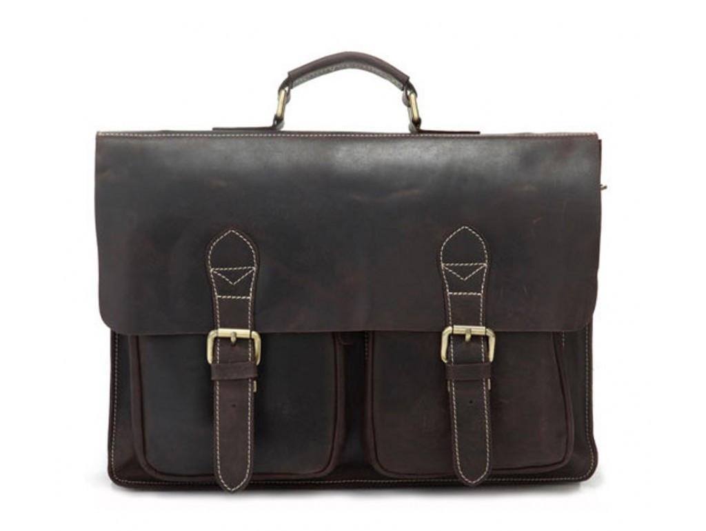 Кожаный портфель TIDING BAG 7105R коричневый