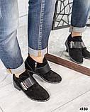Ботинки  с металлическим декором на застежке- липучке замша, фото 3