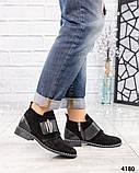 Ботинки  с металлическим декором на застежке- липучке замша, фото 5