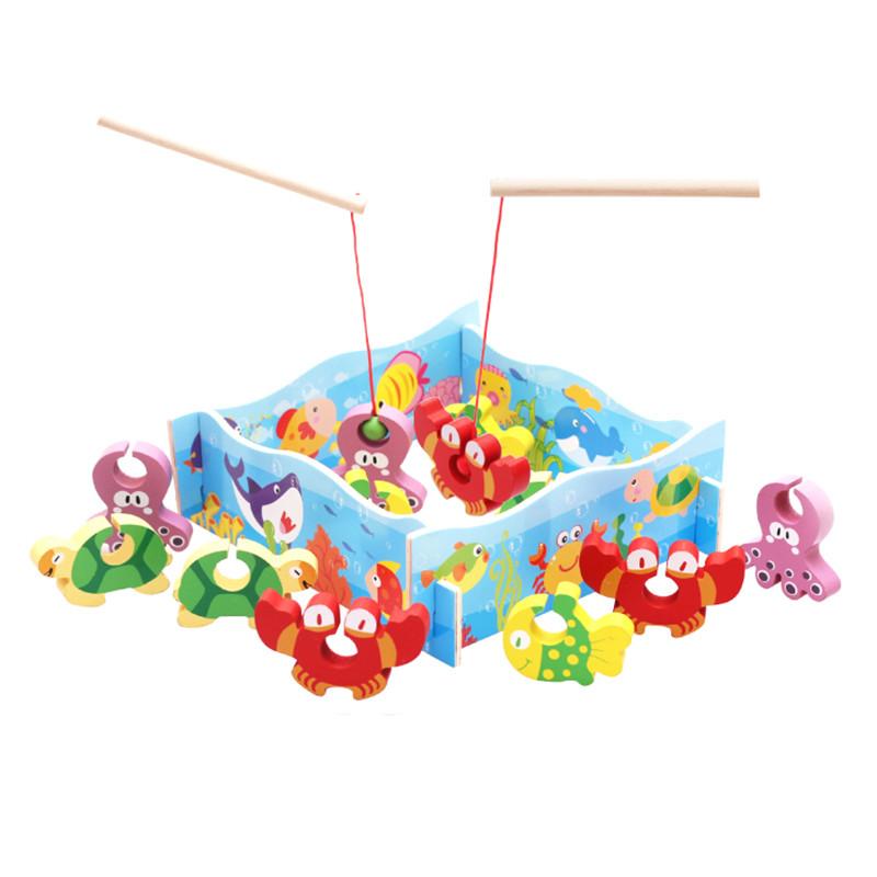 Деревянная игра Рыбалка с шариком Морские жители