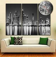Стильная черная модульная картина с часами, 3 части, в гостиную ReD Мегаполис черно-белый,88х66 см