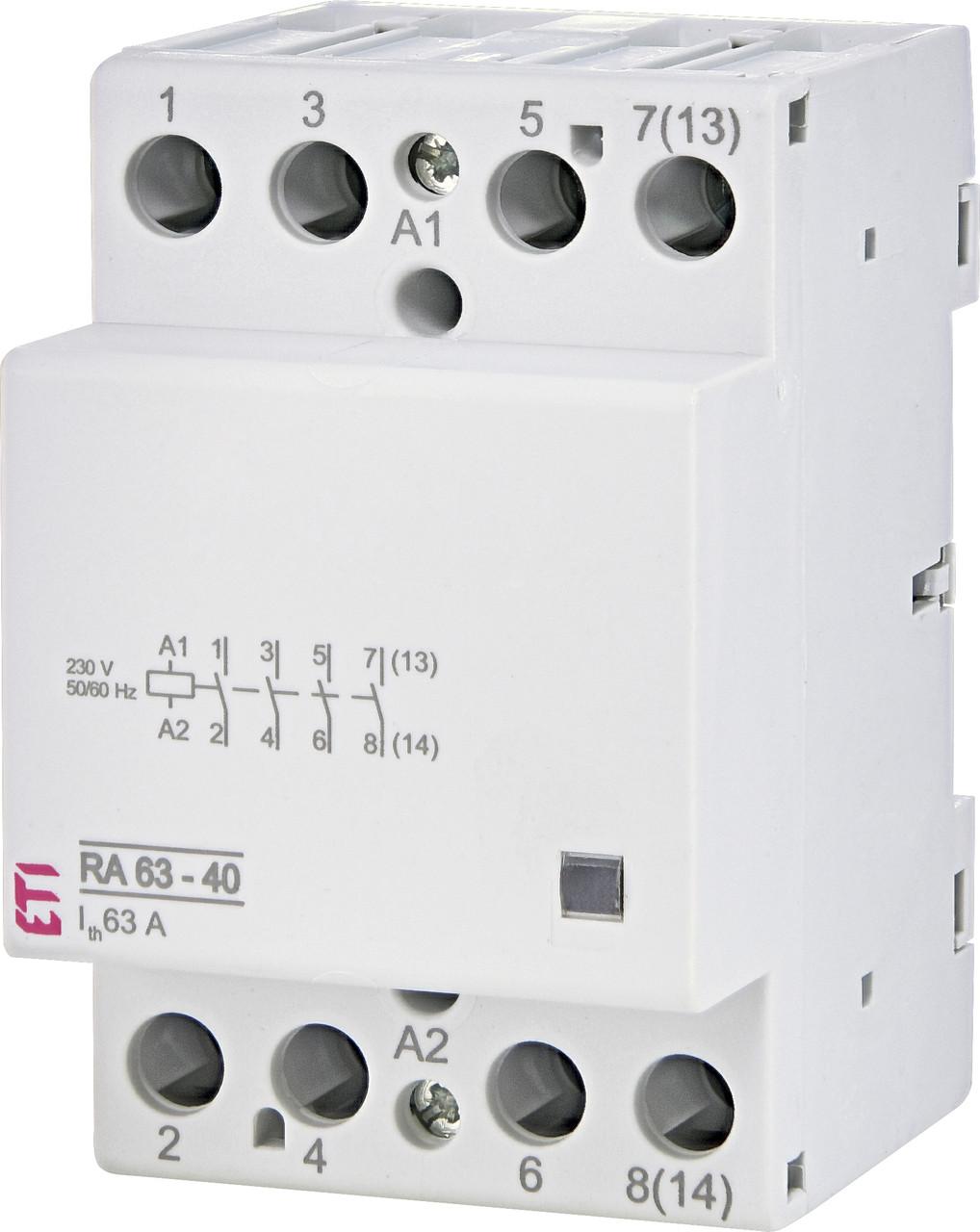 Контактор модульный ETI RA 63-40 63А 230V AC 4NO 2464096 (модульный, на din-рейку)