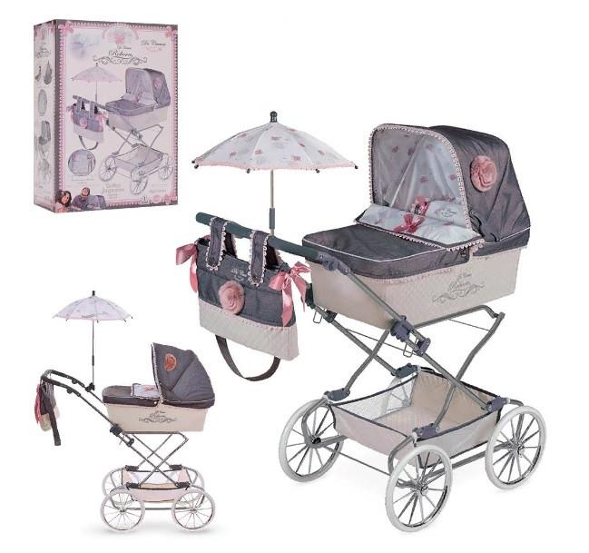 """Кукольная коляска раскладная для девочек DeCuevas """"Reborn"""" 82031, классика, сумка, корзинка, зонт, серая"""
